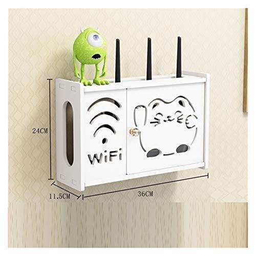 MLFL Panel de la Caja de Almacenamiento WiFi Router inalámbrico de PVC Estantería de Pared for Colgar ignífugo un Soporte de Conector de Cable del Organizador del almacenaje Decoración