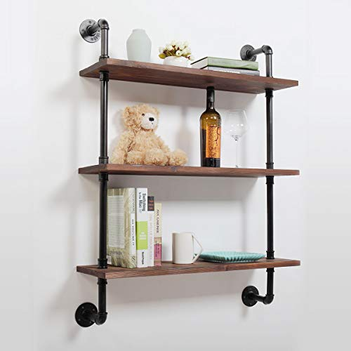 Industrial Pipe Shelf Wall Mounted,3 Tier Rustic Metal Floating Shelves,Steampunk Real Wood Book Shelves,Wall Shelving Unit Bookshelf Hanging Wall Shelves,Farmhouse Kitchen Bar Shelving(36in)