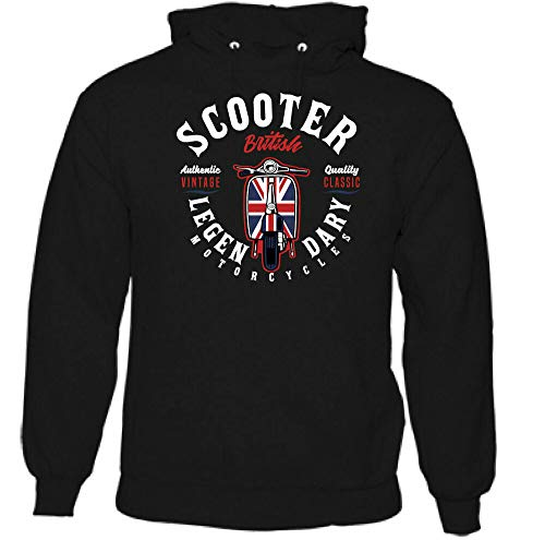 gratify Teenager Long Sleeve Sweater Parody Legendary Scooter Biker Lambretta Vespa Mod Paul Weller Bike Funny Retro Pullover Gift Idea Present tee Black XL