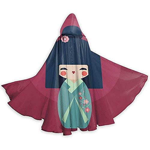 KDU Fashion Wizard Cape, mantel met capuchon gepersonaliseerd Geisha Japanse heksenkostuum voor kostuums 40 x 150 cm