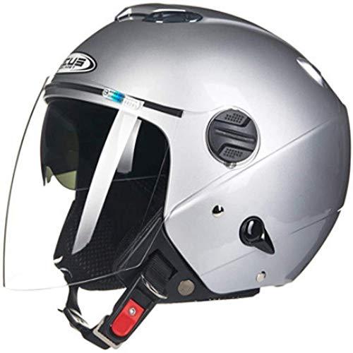 ZHXH Adult Cabrio Halbhelm Retro Harley Doppellinse Geätzter Urinal Halbhelm 3/4 Cruiser DOT Certified Fahrrad Roller Reithelm