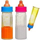 alles-meine.de GmbH 2 Stück _ magische Flaschen - Puppenflaschen mit Milch / Saft & Flüssigkeit - Babyflasche - Milchfläschchen Babypuppenzubehör - UNIVERSAL Größe - Puppe / Baby..