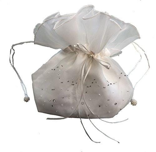LadyMYP Brautbeutel, Brauthandtasche: Organza mit gestickter Bordüre aus Perlen & Strass, weiß/ivory Model93 (ivory)
