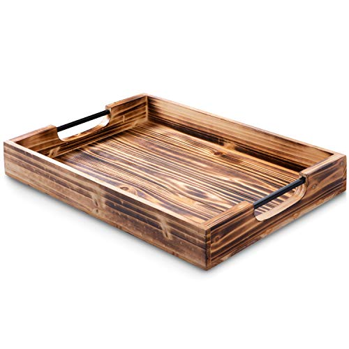 Atpien Rustic Wood Serving Tray: Wooden Tray Farmhouse Decor, Coffee Table Tray, Ottoman Tray or Bed Tray