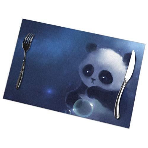 Triest Panda Schilderij Behang Placemat Wasbaar Voor Keuken Diner Tafelmat, Gemakkelijk te reinigen Makkelijk Te Vouwen Plaats Mat 12x18 Inch Set Van 6