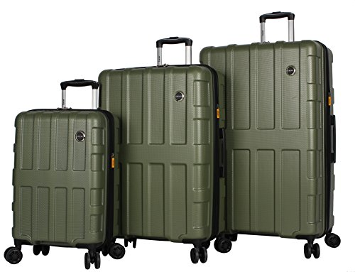 Lucas Luggage 3 Piece Rolling Suitcase Set Hard Case With Spinner Wheels (20' 27' 31') (One Size, Stratus Olive)