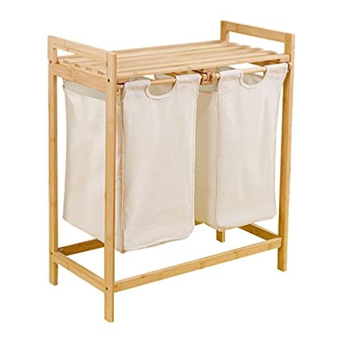 Cabilock Cesta de Lavandería de Bambú con Estante con Compartimentos Dobles Cesta de Lavandería Organizador de Clasificador de Ropa para El Cuarto de Baño del Dormitorio