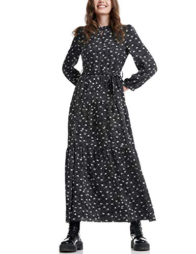 FUNKY BUDDHA Women's Maxi Dress with Floral Print Black in Size X-Small