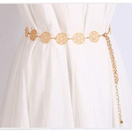 Mode vrouwen Retro metalen ketting riem hoge taille charme cirkel tailleband vrouwelijke riemen goud zilver taille Trimmer