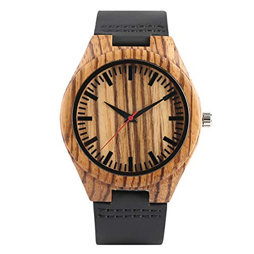 YJRIC Holzuhren Holzuhren Minimalistische Herren Natural Bamboo Clock Damen Rot Analog Quartz WatchLeder Armreif Geschenke, Herren