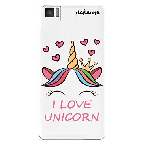dakanna Funda para [Bq Aquaris M5] de Silicona Flexible, Dibujo Diseño [Unicornio con Corazones y Frase, I Love Unicorn], Color [Fondo Transparente] Carcasa Case Cover de Gel TPU para Smartphone