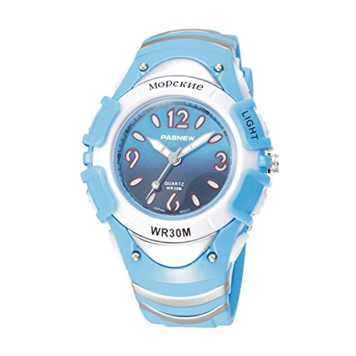 Kids Girls Watches, Dual Time Waterproof Sports Casual Wrist Watches with Star Bling 2001ad Purple (316g Light Blue)