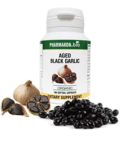 #1 Selling Organic Aged Black Garlic Supplement in Germany, 100 Soft Capsules, Very Potent (Fermented Garlic + Extract), Reduced Odor, 50 Servings.