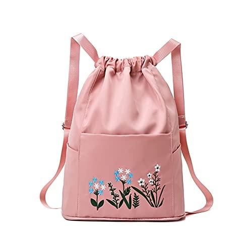 Multifunctional Fitness Travel Bag,Waterproof Nylon Bundle Mouth Backpack Large Capacity Storage Drawstring Fashion Women Travel Sports Bag For Gym Yoga Handbag (Cherry Powder)