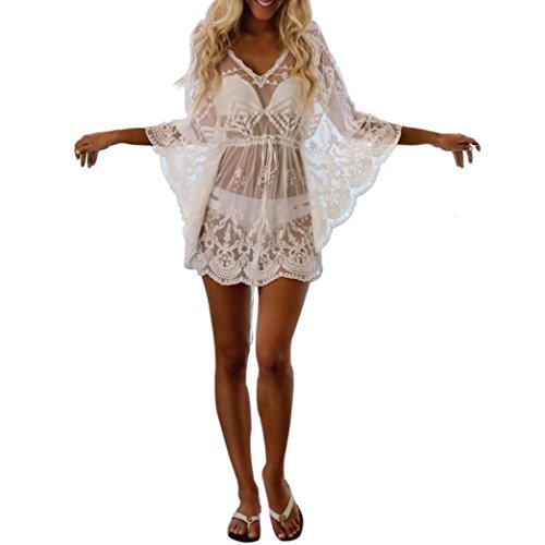Longra Strandkleid Damen Kurze Kleid Badeanzug Bikini Spitze Crochet Cover Up Damen Bikini Cover up Schwarz Weiß Strandkleid Strandponcho Sommer Strand Tunika Pareos (White)