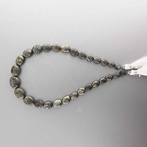 Pluma natural de pirita, forma ovalada, lisa, 100% natural, certificada, piedra de pirita de 6 x 5 a 12 x 10 mm, pluma de pirita, calidad de gema, 25,4 cm