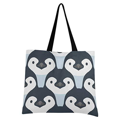 XIXIXIKO - Bolso de lona para bebé, diseño de pingüino, diseño de pingüino, ligero, para playa, bolsa de hombro, resistente para mujeres, niñas, compras, gimnasio, playa, viajes diarios