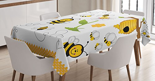 """Ambesonne Collage Tablecloth, Flying Bees Daisy Honey Chamomile Flowers Pollen Springtime Animal Print, Rectangular Table Cover for Dining Room Kitchen Decor, 52"""" X 70"""", White Yellow"""