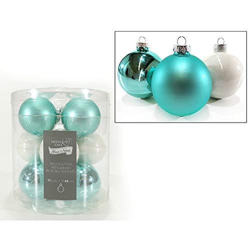 BUYSTAR Palle per Albero di Natale in Vetro Tiffany e Bianche Sfera Natalizia in Vetro Color Turchese Palline Natalizie Varie Misure Ornamento casa Natale (12 Sfere da 40mm)
