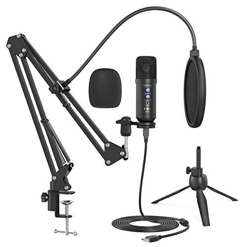 Microphone à Condensateur, dodocool USB Microphone pour Ordinateur, Microphone pour PC avec Taux d'échantillonnage 192kHz/24Bit, Micro d'enregistrement pour Voice, Music, Games, Radio, Youtube