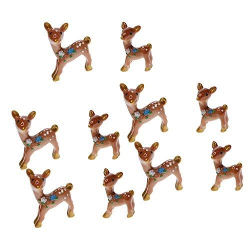 Miniature Garden Decor Reindeer Cake Topper- 10pcs Cute Deer Figurines Miniatures Fairy Garden Crafts Decoration Accessories
