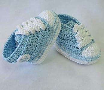 Patucos para Bebé Recién Nacido tipo Converse, 0-3 meses Azul Celeste. Handmade. Crochet. España