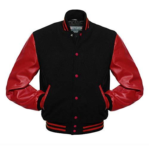 Herren-Uni-Jacke - Klassische Original-Wolle - Echte echte Rindsleder-Ärmel Letterman Baseball Bomber Amerikanische USA Vintage Fashion Sports Style Lettermen Jacke (Black & Red, EXTRA Large)