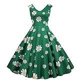 WOOGOD Vestido para mujer de los años 50, rockabilly, vintage, retro, con falda plisada, de cóctel, elegante, para dama de honor. verde XL