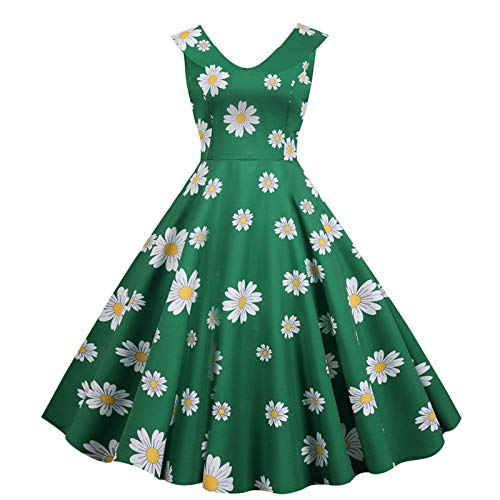 Briskorry Rockabilly jurk voor dames, vintage, retro, cocktailjurk, plooirok, avondjurk, feestjurk, vrouw, kanten jurk, bruidsmeisje, elegant, knielang, chiffon, mouwloos, swingjurk