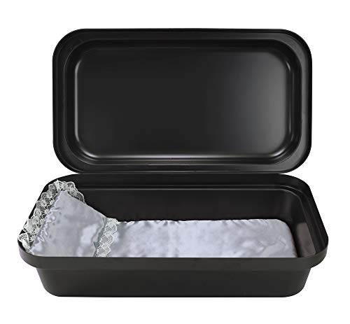 Pet Memory Shop Pet Casket - Classical Pet Loss Coffin, Choose from 3 Colors & Styles, Pet Memorial Box, for Dogs, Cats, and Animals, Perfect as Pet Loss Gift (Small, Black/Silver)