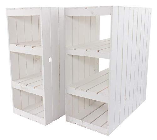 Kontorei® Schreibtisch Unterbau aus weißen Holzkisten (rechts) 74cm x 65cm x 35cm 3er Set Tisch Mittelbretter Weiss Holzregal Obstkiste Weinkiste Apfelkisten Deko Vintage Massive Obstkisten Natur