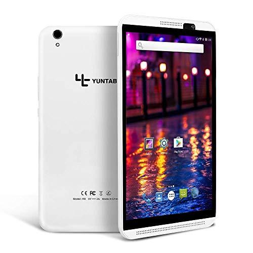 YUNTAB H8 LTE 4G Tablet 8 Pulgadas,Android 7.0, 2 GB RAM + 16 GB ROM, Dual SIM, WiFi,Pantalla táctil IPS, Dual Cameras, con Bluetooth GPS OTG(Blanca)