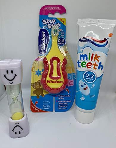 Baby & ‿Ensemble brosses à dents/dentifrice pour bébé 0-2 ans Brosse à dents et minuterie