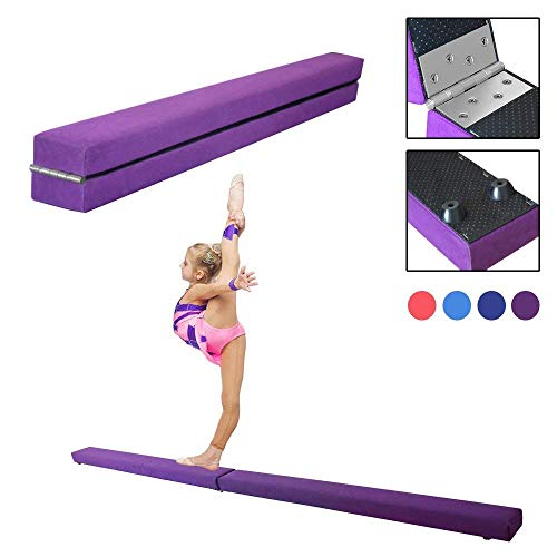 Dripex 210cm Schwebebalken Balance Beam Zusammenfaltbar Gymnastik Kinder Training Beam für Home Gym (Purple)