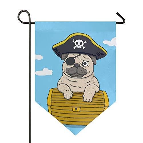XiangHeFu Tuin Vlag Mooie Piraat Gelukkig Knuffel Schatkist 12x18.5 Inch (12