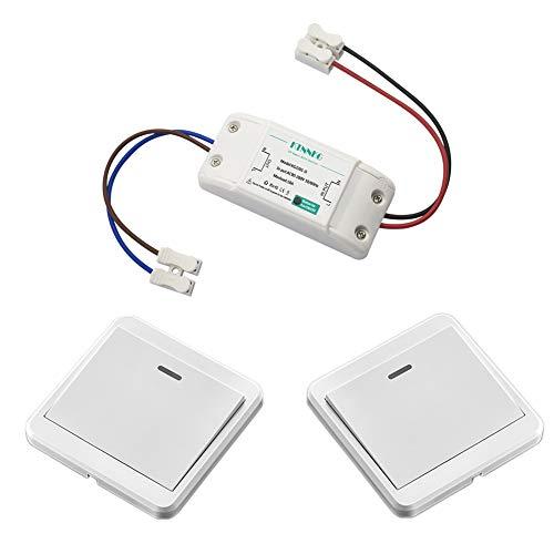 KTNNKG Kit de interruptor de luz inalámbrico – 1 receptor y 2 transmisores, 30 m de distancia remota, par bien (batería incluida)
