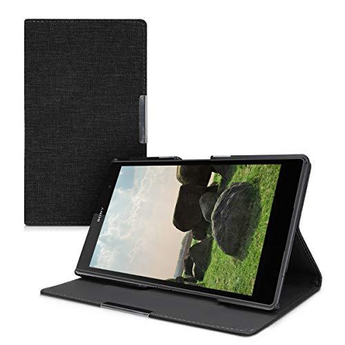 kwmobile Funda Compatible con Sony Xperia Tablet Z3 Compact - Case de Tela Cierre magnético Soporte en Gris Oscuro