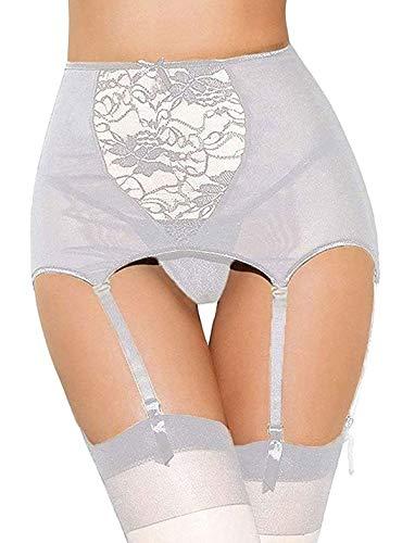 Scicent Strumpfgürtel Strapsgürtel Strumpfhalter Damen Weiss Spitzen Strapsgürtel Strumpfband 4-Strap Strapsstrümpfe Strumpfbänder mit Tanga 48 50