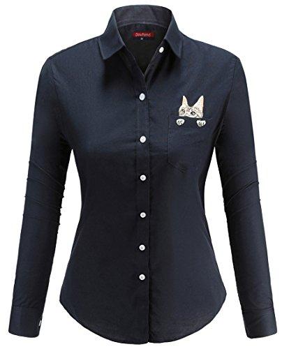 Dioufond Camisas Mujer Manga Larga Estampada de Gato con Bolsillo Camiseta y Blusa (Azul Oscuro XXL)