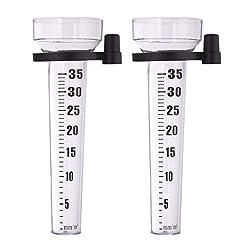 Relaxdays, transparent rain gauges, set of 2, with holder, garden rain gauge, large display 35 mm / m², plastic