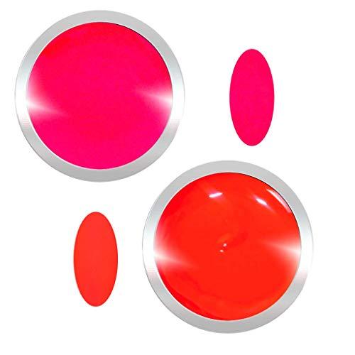 Farbgel für Gelnägel im Set Neon Two | UV LED Nagelgel | 2x 5 ml | Farben: Neon Koralle/Rot, Shocking Pink/Pink | Gel mit hoher Deckkraft