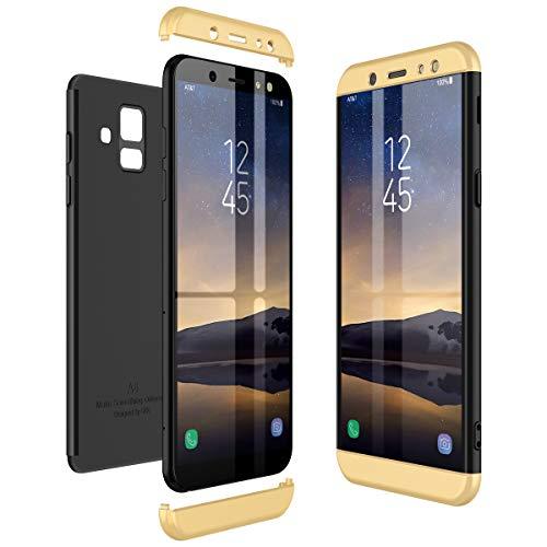 CE-Link Kompatibel mit Samsung Galaxy A6 2018 Hülle Hardcase 3 in 1 Handyhülle 360 Grad Schutz Ultra Dünn Slim Hard Hartschale Grad Full Body Case Cover Hart PC Bumper - Gold + Schwarz