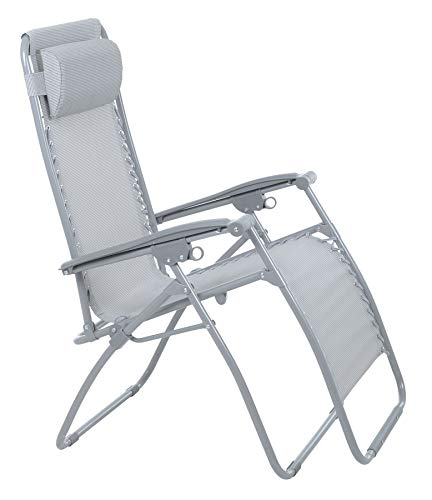 Azuma Garden Chair Silver Grey Texteline Zero Gravity Recliner Seat For Relaxing In The Sun Outdoors Patio Lounger Smooth Easy To Use Multi Position Removable Adjustable Head Cushion Pillow
