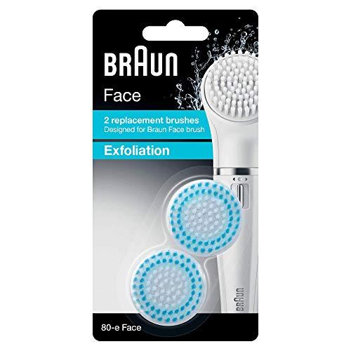 Braun Face Ersatzbürsten Peeling 80-e, für Braun Gesichtsreinigungsgeräte, 2 Stück