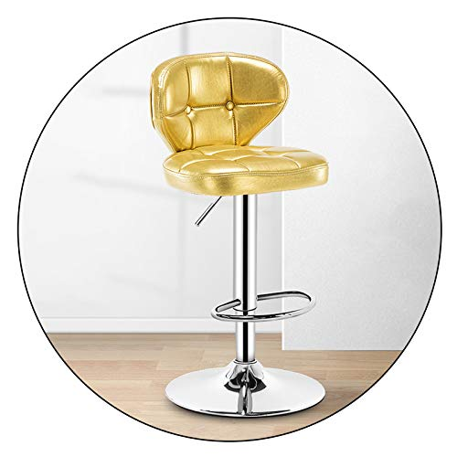 XEWNEGTZI Modern Rotating Bar Stools, Thick Cushion and Height Adjustable, Chrome Footrest and Base, Bar Chairs for Kitchens Counter and Home, Easy to Assemble(Color:Golden)