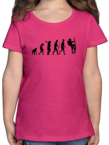 Evolution Kind - Klettern Evolution - 152 (12/13 Jahre) - Fuchsia - F131K - Mädchen Kinder T-Shirt