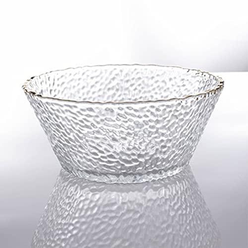 Plato de fruta de cristal, plato creativo redondo para ensalada, vajilla transparente resistente al calor para el hogar y la cocina, color blanco