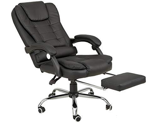 High-Back Office Chair Home Office Desk Chair with Lumbar Support Bonded Leather Reclining Chair, Ergonomic Executive Office Chair with Metal Base
