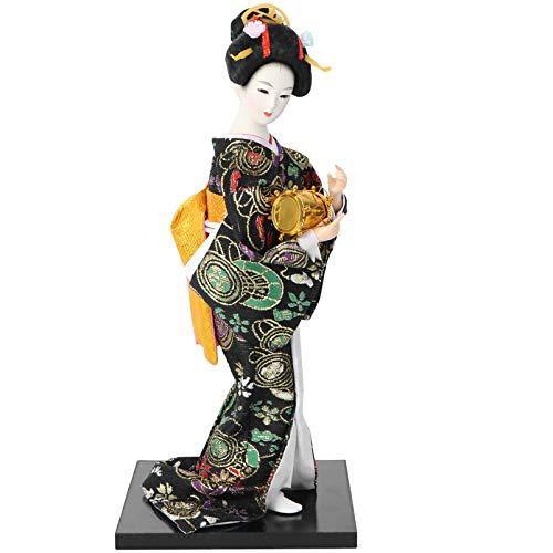 FAVOMOTO Geisha Figurine Japanese Kimono Doll Asian Geisha Resin Girl Collectible Sculpture Party Ornament Living Room Black