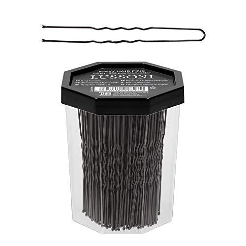 T4B LUSSONI Epingles à cheveux dentelées 300pcs. (7,5 cm, Noire)